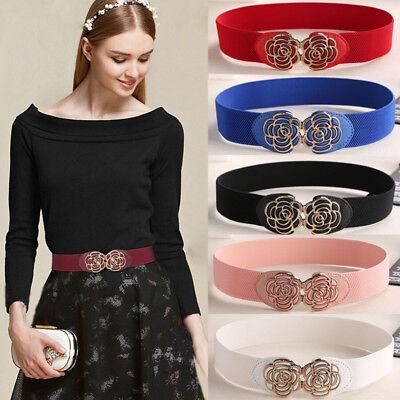 Women's Fashion Elastic Cinch Belt Wide Stretch Slim Waist Band Clasp Buckle (Buckle Cinch Belt)