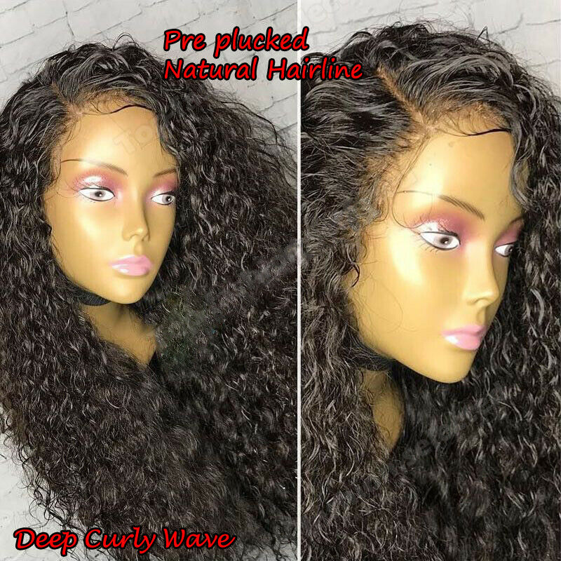 Pre Plucked Silk Top Full Lace Front Wig Curly Wave Brazilian Human Hair Wig USA - $78.77