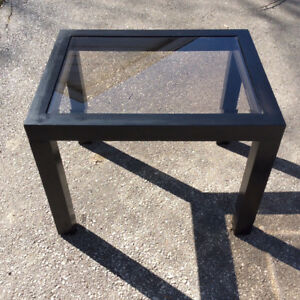 Black Wood Table with Glass Insert