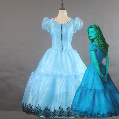 Alice in Wonderland Königin Disney Cosplay Kostüm Abend-kleid lang Blau (Alice Disney Kostüm)