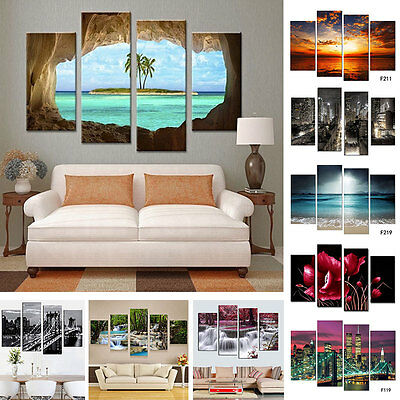 4Pcs/lot Modern Landscape Canvas Wall Art Print Oil Painting Home Decor