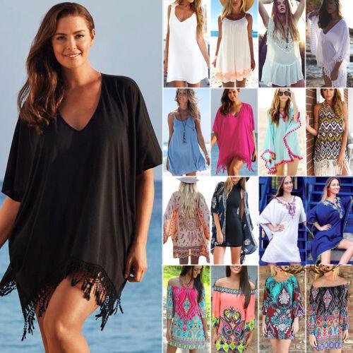 Damen Strand Freizeit Tunika Minikleid Bademode Bikini Vertuschen Badeanzug Tops