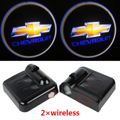 2× Wireless LED Courtesy Car Door Step Laser Welcome Ghost Lights for Chevrolet