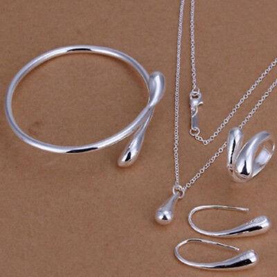 Fashion Women Wedding Silver Drop Necklace Bracelet Earring Ring Jewelry Set 925