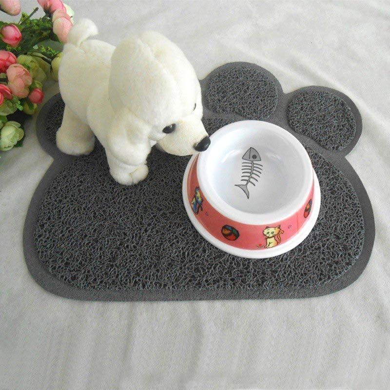 Grey Paw Shaped PVC Cat Dog Mat Non-slip Pet Food Water Bowl Feeding Placemat