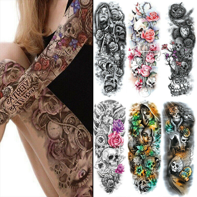 6 Sheets Temporary Tattoo Stickers Waterproof Full Arm Body Art Colorful Tattoos Health & Beauty
