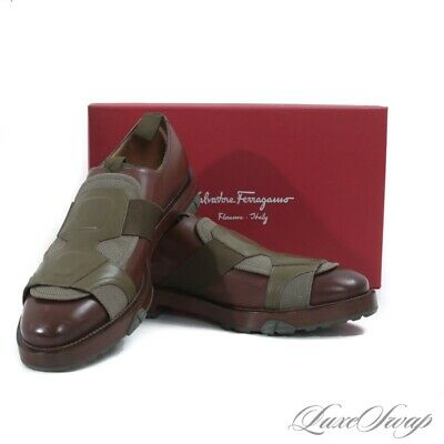 NIB Salvatore Ferragamo Italy Faber Brown Leather Olive Mesh Plate Shoes 10 NR