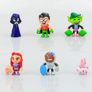 Teen Titans Go Robin Raven Cyborg Silkie Beast Action Figure Kids Gift Toy 6 PCS