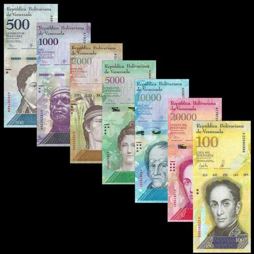7 Venezuela Banknotes 500 - 100,000 (100000) Bolivares 2016-2017 / aUNC