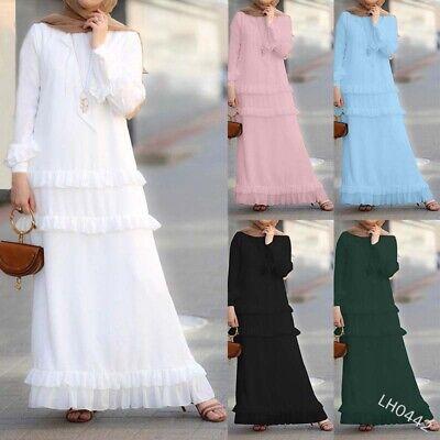 Muslim Ruffle Cake Dress Maxi Women Long Sleeve Abaya Kaftan Islamic Dubai Robes