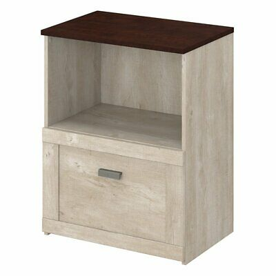 Bush Furniture Townhill Lateral File Cabinet In Washed Gray And Madison Cherry