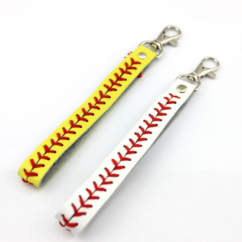 Softball Baseball Seamed Leather Stiches Keychain for Women