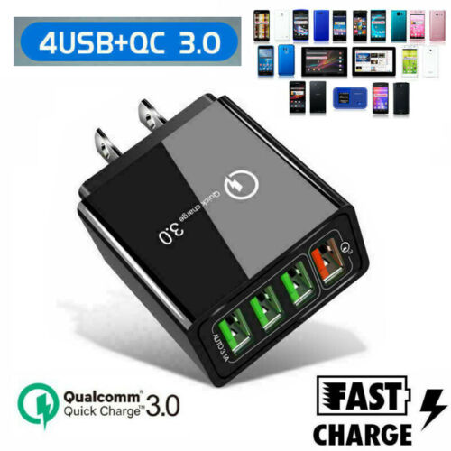 4 Multi-Port Quick Charge QC3.0 USB Hub Mains Wall Charger A