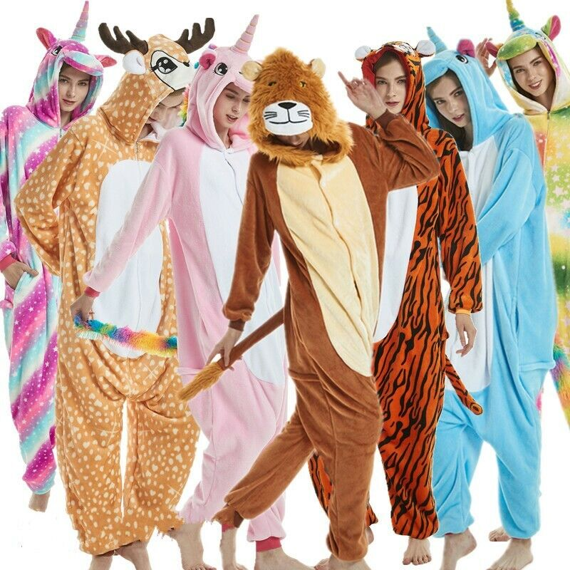 Unisex Adult Kids Pajamas Unicorn Kigurumi Cosplay Costume Christmas Fancy Dress
