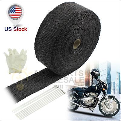 "2"" 50Ft Black Premium Fiberglass Header Exhaust Heat Wrap For motorcycle kit"