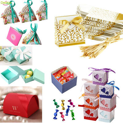 100pcs Wedding Engagement Birthday Party Cake Candy Favor Gift Boxes Pack - Cake Favor Boxes