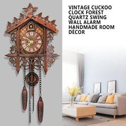 Vintage Cuckoo Clock Forest Quartz Swing Classic Wall Alarm DIY Hanging Pendulum