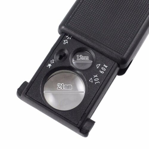 30X 60x  Magnifying Glass Pocket Magnifier Lighted UV  Jeweler Loupe coins stamp