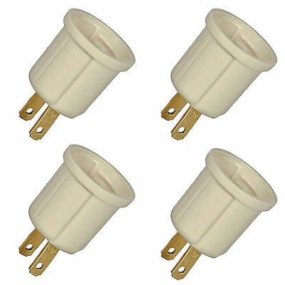4 Pc 110V Outlet Socket Plug To Standard Light Bulb Adaptor Converter New