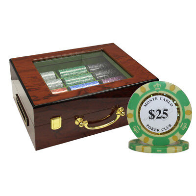 500 14G MONTE CARLO POKER CLUB CHIPS SET HIGH GLOSS PERSONALIZED WOOD CASE