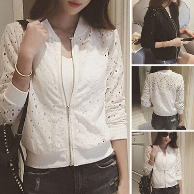 Summer Women Girl Bomber Jacket Lace Sunscreen Shirt Short Thin Baseball Coat