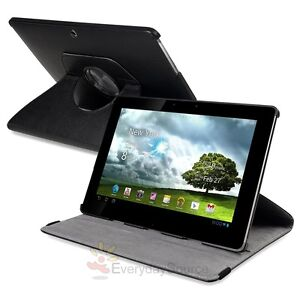 For Asus Transformer TF101 360 Rotation Premium Black Leather Case Cover Pouch