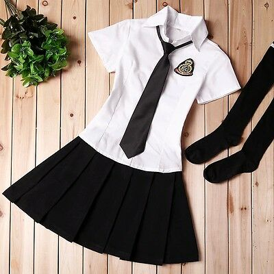 England Schulmädchen School Maid Costume Cosplay Kostüm Student Uniform Set