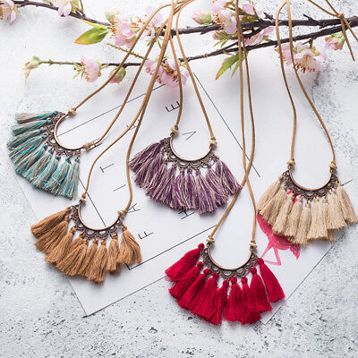 Fabric Jewelry - Tassel Necklace Women Fashion Jewelry Leather Rope Chain Silk Fabric Boho Choker