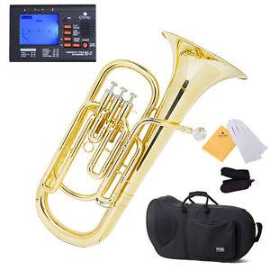 Mendini-Gold-Brass-B-Flat-3-Valves-Baritone-Tuner-Case
