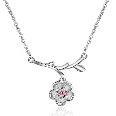 Muye 925 Sterling Silver Cherry Blossom Pendant Necklace For Fashion Women DZ275 ()