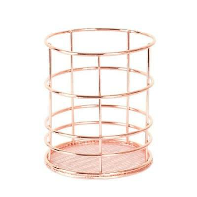 Rose Gold Pencil Holder Metal Office Supplies Desk Organizer Makeup Brush Holder