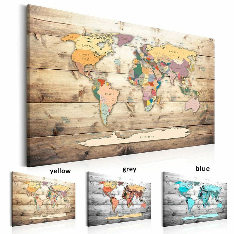 Modern Wall Art World Map Canvas Decor Poster