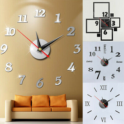2019 Modern Large Wall Clock 3D Mirror Sticker Unique Big Number Watch DIY Decor ()