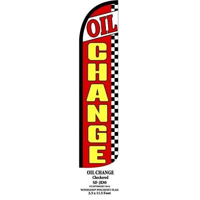 Oil Change Checkered Windless Full Curve Top Advertising Feather Swooper Flag