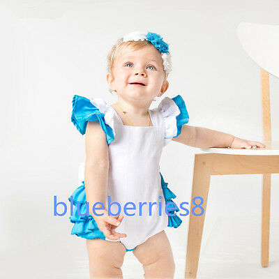 Alice In Wonderland Baby Girls Romper Playsuit Jumpsuit +Headband Outfit Set (Alice Outfit)