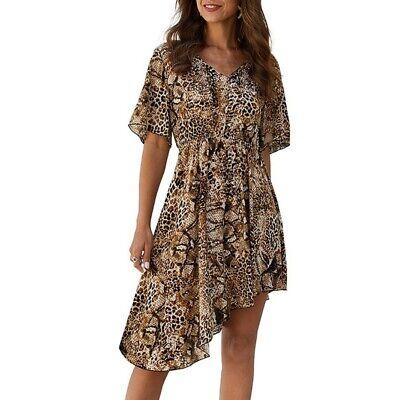 Moda de Verano Vestidos de Moda Irregulares Vestido de Leopardo de Cintura...