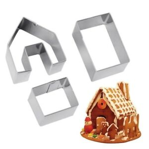 New Mini 3PCS/set Gingerbread House Cookie Cutter Stainless Steel Biscuit Mold