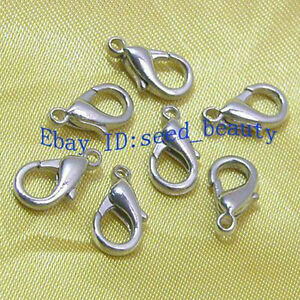 100pcs-White-Gold-Plated-Lobster-Clasp-12mm-Free-S-H
