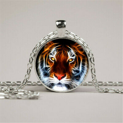 Vintage Animal Tiger Photo Cabochon Glass Silver Chain Pendant Necklace Tiger