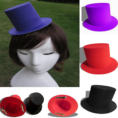 Black/Red Mini Top Tall Hat Fascinator Base Alligator Clips MIllinery Craft A006 (Mini Red Top Hat)