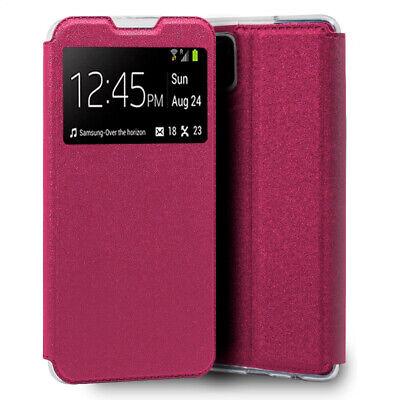 Funda con Tapa y Ventana para Samsung Galaxy A12 rosa