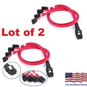 Lot of 2 Mini SAS to 4-SATA SFF-8087 Multi-Lane Forward Breakout Internal Cable