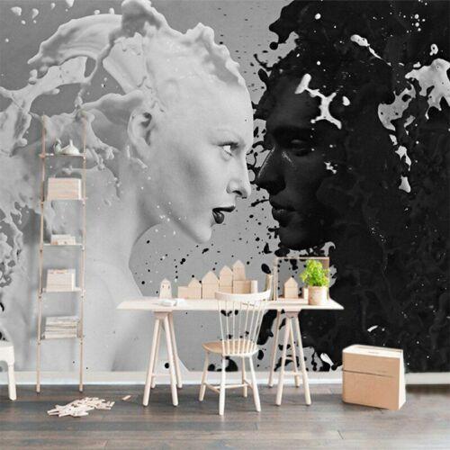 Custom Photo Mural Wallpaper Human Faces 3D Black-White Splash Connection Decor