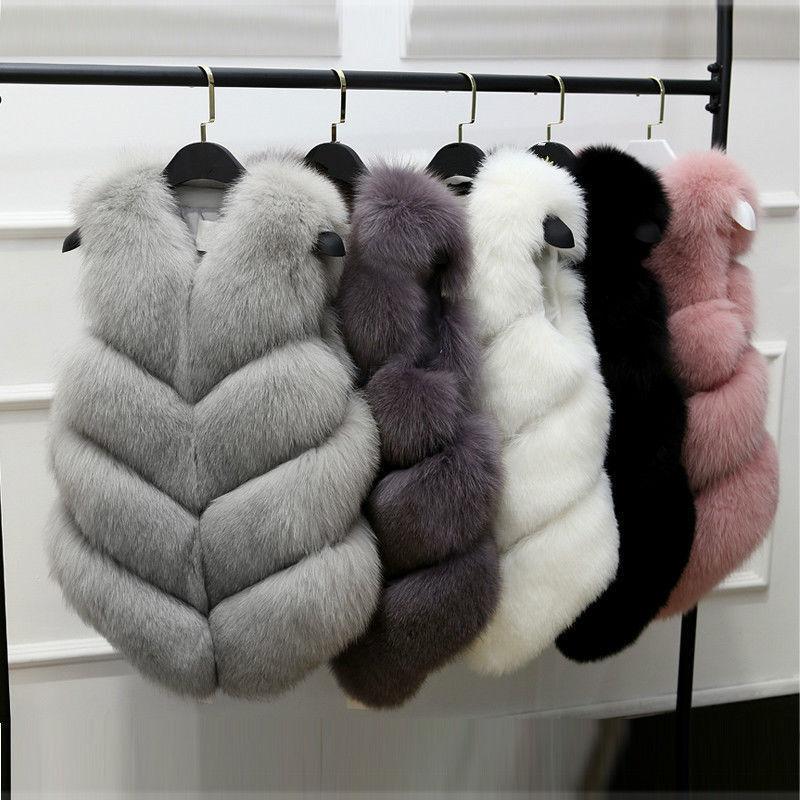 Womens Winter Faux Fox Fur Vest Gilet Outwear Sleeveless Wai