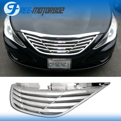 Fit For 2011-2014 Hyundai Sonata Front Upper Chrome Mesh Grille Horizon
