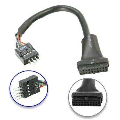 USB 3.0 20-Pin Encabezado Hembra A 2.0 9-Pin Adaptador Macho Cable Convertidor