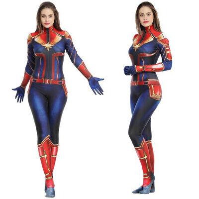 Kids Female Superhero Costumes (Captain Marvel Cosplay Jumpsuits Kids Womens Zentai Costumes Halloween)