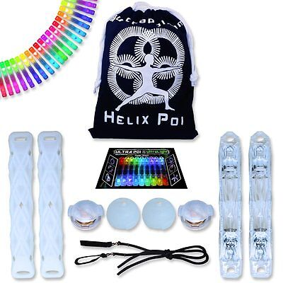 Helix Poi with Ultra Knobs - UltraPoi Best Light Up Glow Flow Rave Dance Poi (Best Light Up Toys)