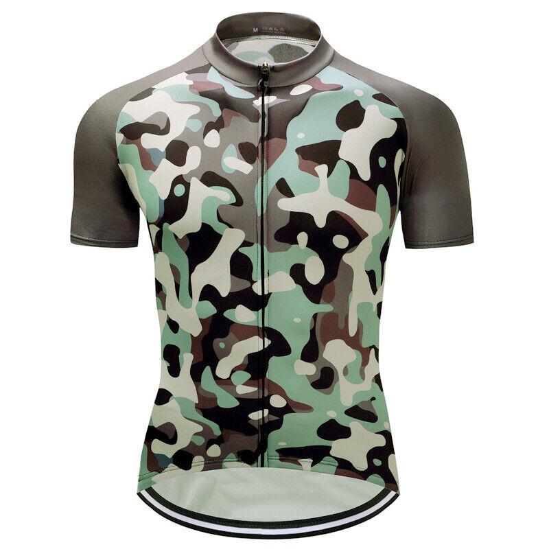 Mens Bike Team Road Camo Jersey Cycling Short Sleeve Tops Sh