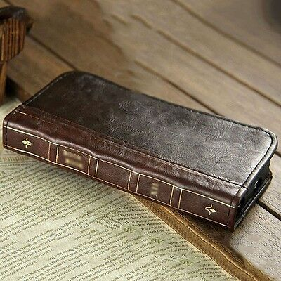 $13.99 - Antique Leather Wallet Retro Classic Vintage Book Case Cover for Smartphone